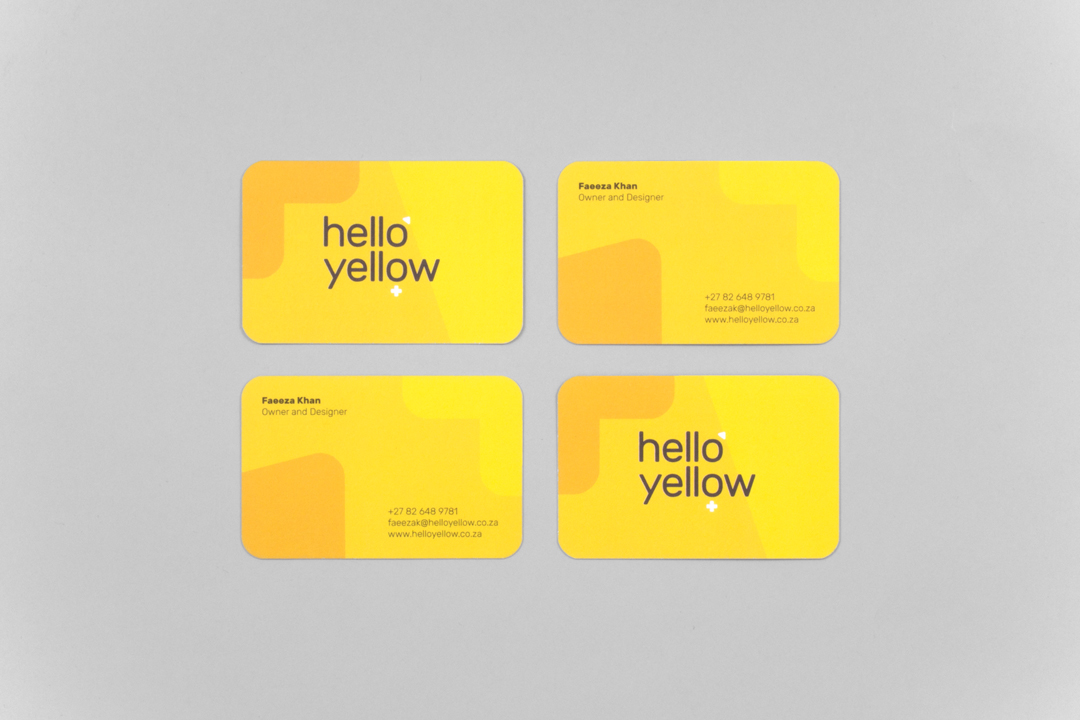 Hello Yellow identity business cards
